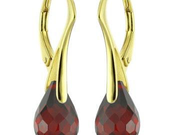 14k Gold Over 925 Sterling Silver Natural Briolette Garnet Leverback Earrings