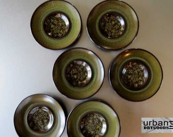 Franciscan Earthenware Brown & Green Madeira Pattern Saucers, set of 6