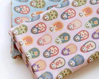 Cotton Fabric Matryoshka in 2 Colors By The Yard