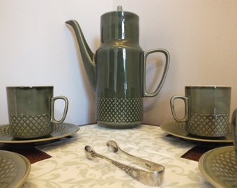 Vintage Coffee Set - 40's-50's Retro Coffee Set with a Vibrant Olive Green Glaze and Impressed Diamond Banding, PT Tulowice, Made in Poland