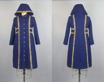 60s Rainbow Coat / Hooded Coat / Winter Coat