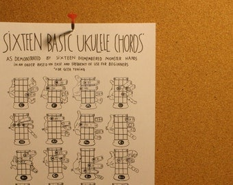 Ukulele ukulele chords poster : PDF Sixteen Basic Ukulele Chords Chart 8.5 x 11 by spaceheaterco