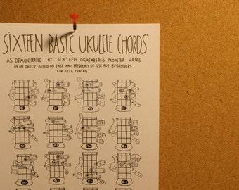 Ukulele Chords Chart: Handdrawn Illustrations of Hands & Fingers [Uke Fingering Diagram for Beginners GCEA Tuning] PDF Instant Download