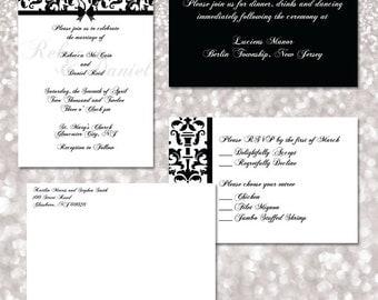 Black and White Damask Wedding Invitation Template Set (Digital printable file)