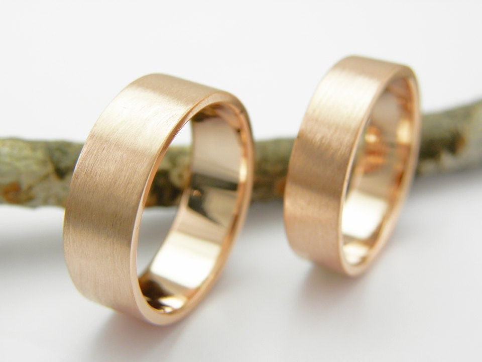 His and Hers Wedding Rings 14k rose gold set Handmade brushed