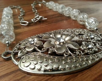 Necklace - Large Link Silver Chain with Silver-Crystal Focal Metalwork and Crystal Station Beads