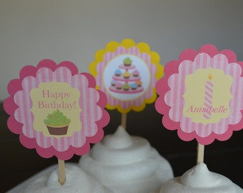 Cupcake Theme Cupcake Toppers - Cupcake Baby Shower - Pink Cupcake Theme - Set of 12