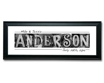 wedding name sign 12x36 vintage vegas neon letter art customized