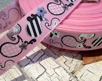 """7/8"""" Pink PAISLEY with Silver METALLIC and Black Grosgrain Ribbon sold by the yard"""