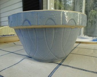 CODE: MOVINGSALE  35% Off Oven Ware Blue Pottery Number 8 Mixing Bowl in the Loop Pattern. Made in Crooksville Ohio in  USA.