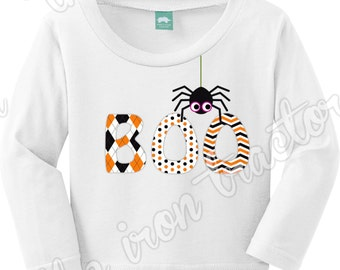 Halloween Boo Shirt with Spider Outfit Add a Name for Free