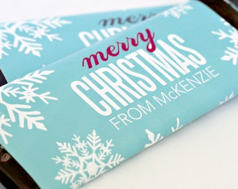 Merry Christmas Candy Bar Wrappers – Personalized Candy Wrappers – Christmas card – Gift tag – School Treats – Candygram – Winter Wonderland