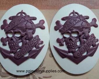 40x30 davey jones pirate skull ship cameos purple on white 2 pcs