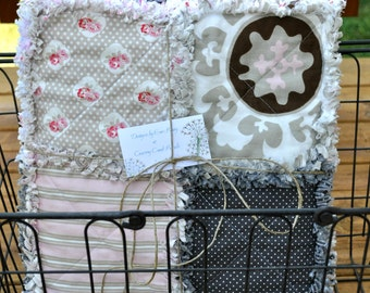 FREE SHIPPING-Rustic, Pink and Brown Rag Quilt -Perfect for a new baby or a young child