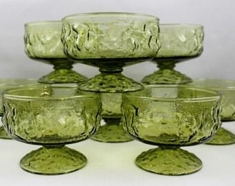 Anchor Hocking Avocado Green Lido Milano Footed Glasses Dessert Sherbet Ice Cream Bowls * Vintage 1960's Retro Bumpy Textured * Set of 8