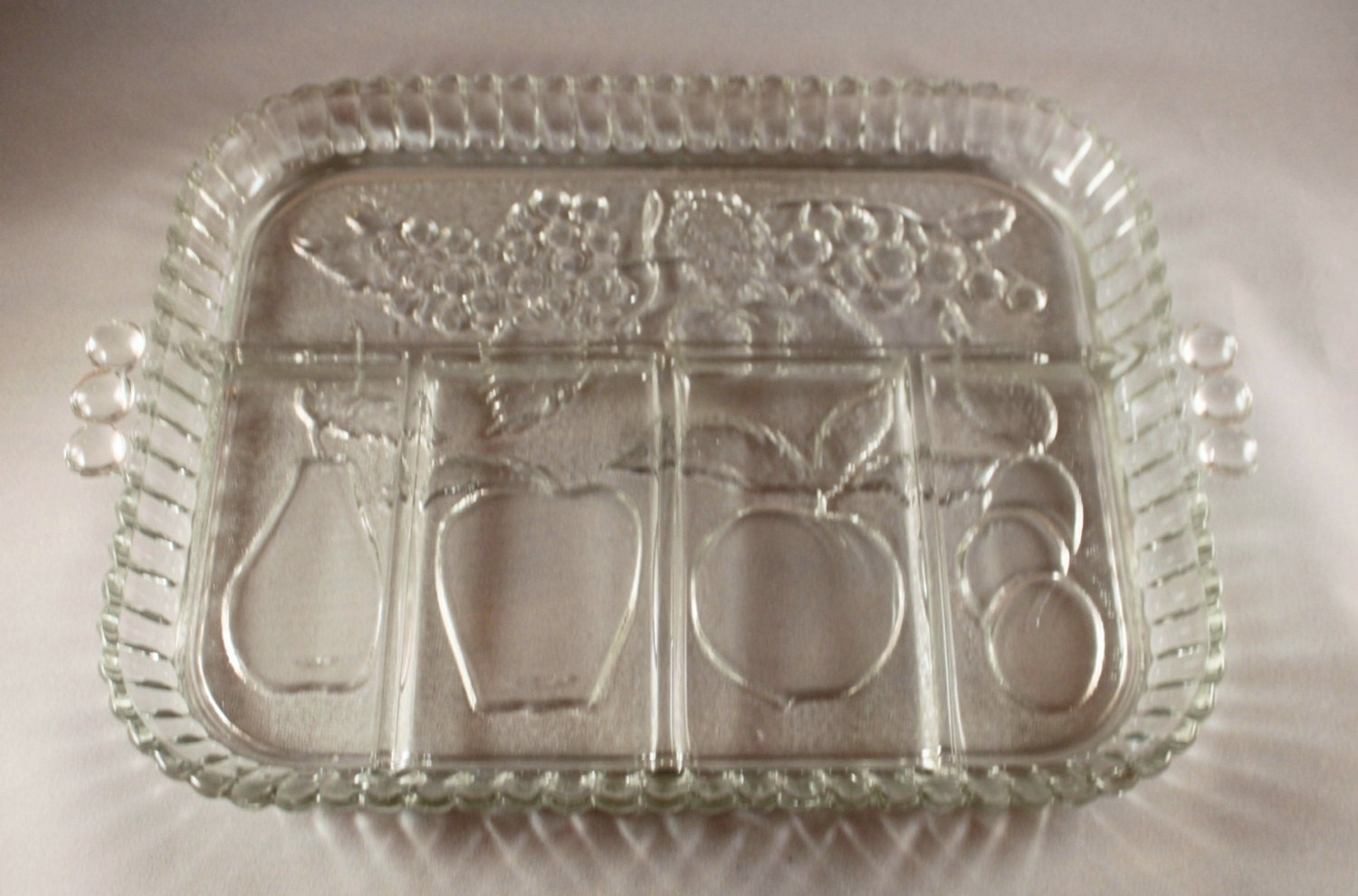 Indiana Glass Co Clear Glass Serving Tray Divided Appetizer