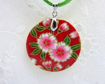 Japanese necklace pendant, handmade, on wood base decorate with Japanese paper