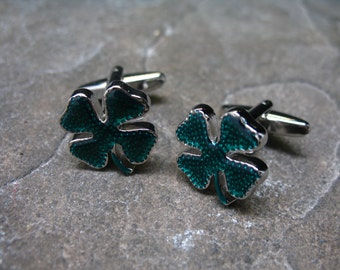 Lucky Cufflinks Green St. Patricks Four Leaf Clover Cuff Links Ireland Irish