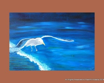 Flying Seagull Painting, seagull flying over ocean,Painting, Bird painting,Blue painting,palette knife painting,Ocean theme painting, Modern