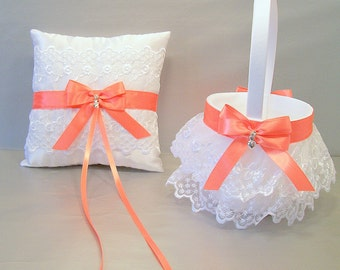 Coral Wedding Bridal, Flower Girl Basket and Ring Bearer Pillow Set on Ivory or White ~ Double Loop Bow & Hearts Charm ~ Allison Line