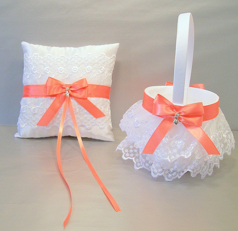 Coral Wedding Bridal Flower Girl Basket And Ring Bearer