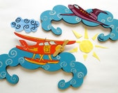 FREE SHIPPING SET of two baby clothes hangers (trempels) - plane gift for him kids baby friend
