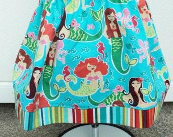 Girls Mermaid Skirt baby Toddler Girls Summer Skirt Michael Miller Sea Beauties Made to order sizes 6m through 6t