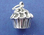 CUPCAKE Charm .925 Sterling Silver, Frosted Cupcake Pendant