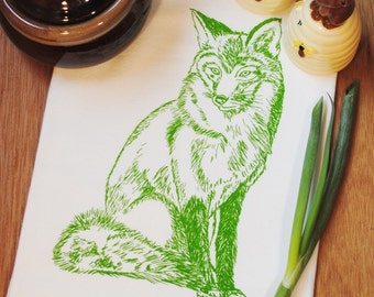 Green Fox Kitchen Tea Towel - Screen Printed Flour Sack Tea Towel - House Warming Gift
