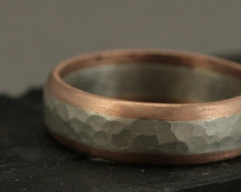 14K Rose Gold Edged Sterling Silver Hammered Men's Band - All on the Inside - Two Tone Men's Wedding Band