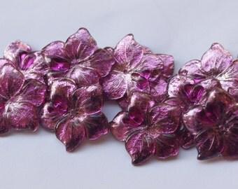 50 pcs  Vintage Purple Flower Beads ,Lucite Beads , bk082