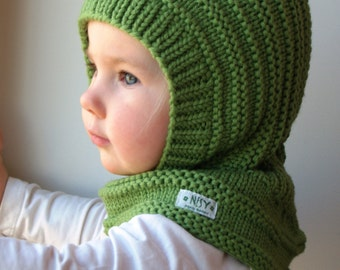 READY TO SHIP all sizes! Merino Balaclava, Baby/Toddler/ Kids Hoodie Hat &Neckwarmer, Bright Green. Sizes 6-12m / 1-3-6-10 years.