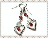 Silver Heart Earrings~Silver Heart Charm Earrings~Women's Silver Heart Charm Earrings
