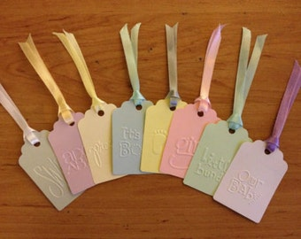 12 cute Pastel Embossed handmade Baby gift tags with ribbon for baby showers gifts presents cards
