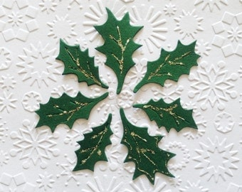 25 dark green Holly leaf Leaves die cuts for Christmas cards/toppers cardmaking scrapbooking *3 sizes mixed pack*