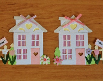 2 handmade pretty 'New Home' House card toppers ready for card blanks scrapbooking