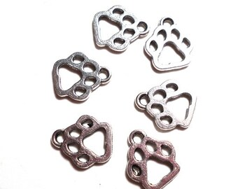 6 Paw Print Charms, 11mm, Antique Silver Animal Print Charms, Dog Print Charm, Dog Paw Charms, Bear Paw Charm, Animal Paw Charms, SC-0012