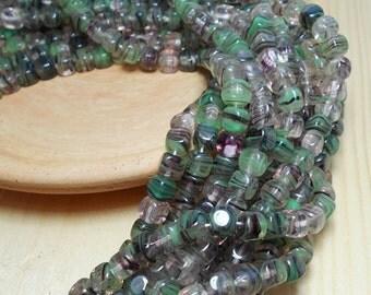 Green Transparent Cube Beads, 6mm Green Beads, Nature Beads, 6mm Hurricane Glass Beads, Green Beads, Transparent Green Beads A-016