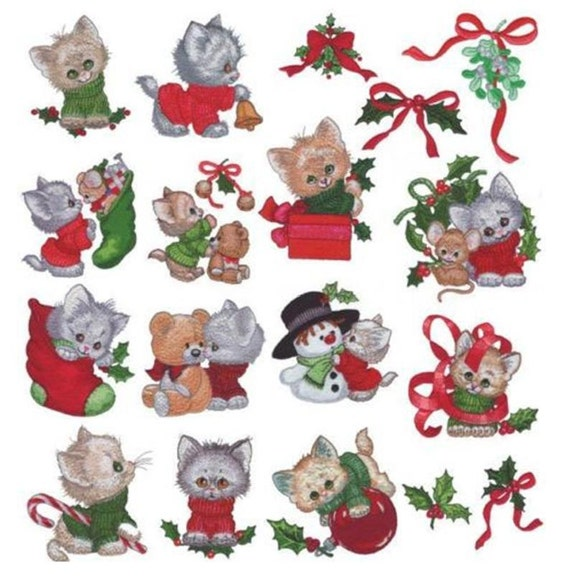 Christmas Kittens  Machine Embroidery Designs - PES format