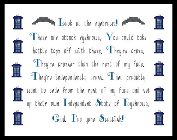 Doctor Who Peter Capaldi Scottish Eyebrows Quote Cross Stitch - PDF Pattern - INSTANT DOWNLOAD