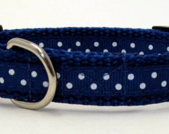 Blue and White Polka Dot Dog Collar Quick Release Adjustable Extra Small