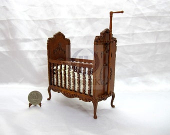 Miniature 1:12 Scale Doll House Wood Carved Crib [Walnut]