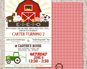 Farm Birthday Party Invitation Digital or Printed