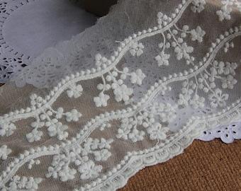 Vintage Cotton lace trims flower Embroidery white Lace trim,DIY lace ribbon-12cm
