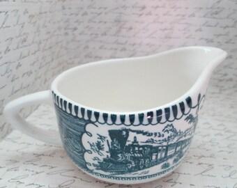 Royal Blue Royal China Currier and Ives Ceramic Creamer ...