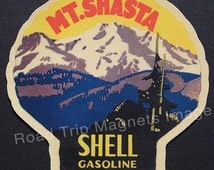 Shell Gasoline 1920s Travel Decal Magnet for MOUNT SHASTA. Accurate reproduction & hand cut in shape as designed. Nice Travel Decal Art