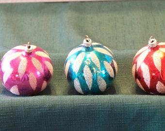 "Three West Germany Vintage Ball Ornaments 2 1/2"" Diameter"