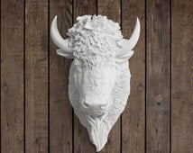 The Yellowstone in White - Faux Bison Head Taxidermy - Resin Animal Fake Fauxidermy Ceramic Mounted Wall Decor Plastic Decorative Mount Art