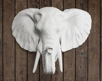 The Savannah in White - Faux Elephant Head Fake Resin Animal Decorative Plastic Fauxidermy Mount Taxidermy Ceramic Mounted Wall Replica Art