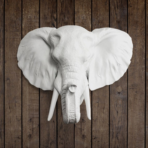 La savane en blanc t te d l phant faux faux r sine animaux for Decoration murale tete animaux